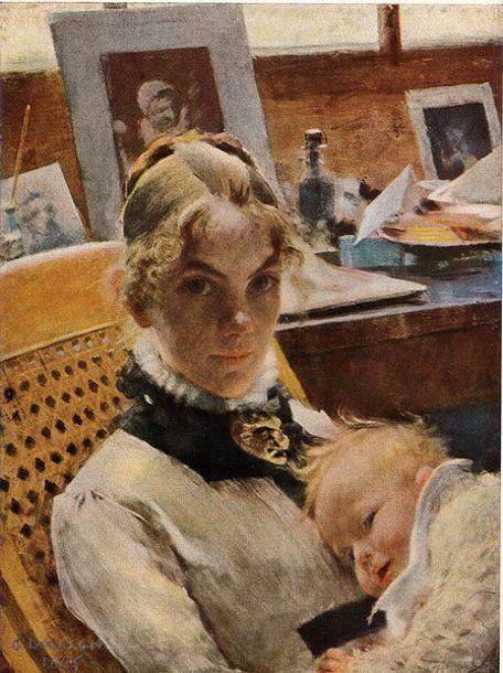 Carl Larsson (1853 – 1919, Swedish) - Idilio en el estudio; la mujer del artista y su hija Suzanne