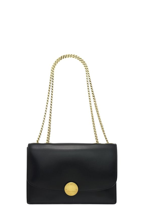 "The Marc Jacobs Classic Calf Trouble II features gleaming, logo-debossed disc hardware - the exclamation point on this elegant chain handle shoulder bag. - Convertible chain shoulder strap - Flap with hook closure; lined - Two interior slip pockets - Dimensions: 9.5""L x 3""W x 7""H; 10"" strap drop - Materials: 100% Leather; Lining: Polyester - Made in Italy"