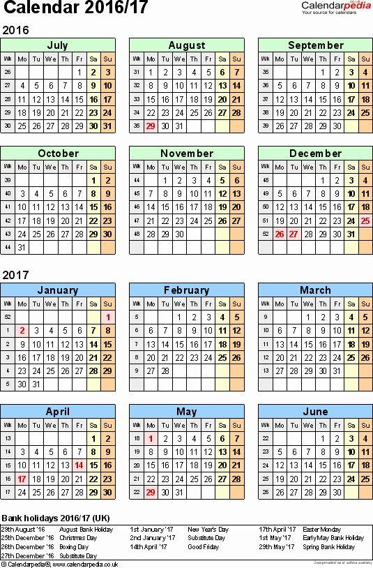 Calendar Template 2016 2017 New Split Year Calendars 2016 17 July To June For Excel Uk In 2020 November Calendar Calendar Template August Calendar