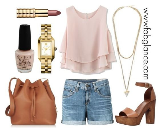 """""""#OOTD: Cutoff Concert Cutie"""" by fabglance ❤ liked on Polyvore featuring rag & bone/JEAN, Chicwish, Carvela, Tory Burch, Sophie Hulme, OPI and Givenchy"""