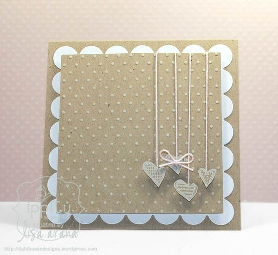 Simple Handmade card. Could be flowers or butterflies on the string instead.