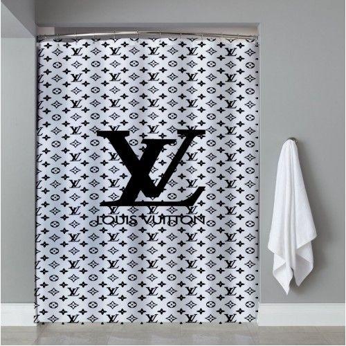 Louis Vuitton White Black Shower Curtain Unbranded Modern Shower Curtain Showercurtain Bath Rings Hooks Black Shower Curtains Curtains Shower Curtain