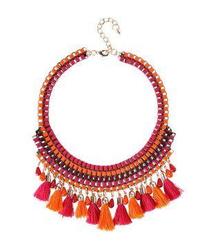 Chunky beads & tassle necklace