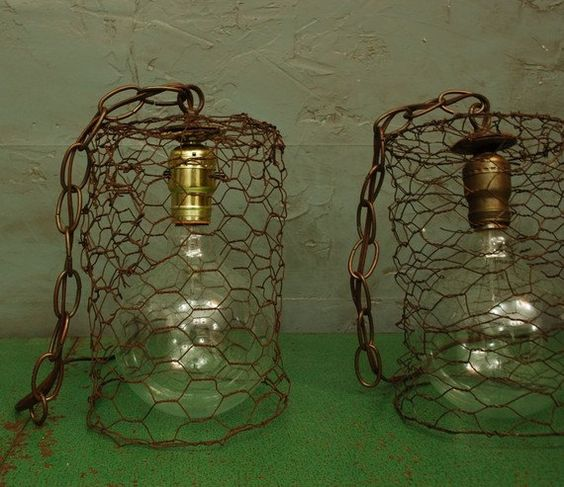 CHICKEN.WIRE.hanging.pendant.light