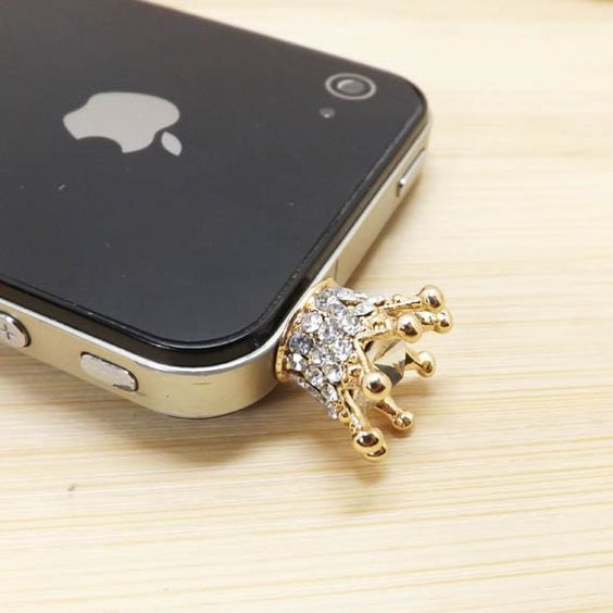 Golden King Queen Crown Crystal Alloy Dust Plug  by Polaris798, $4.99