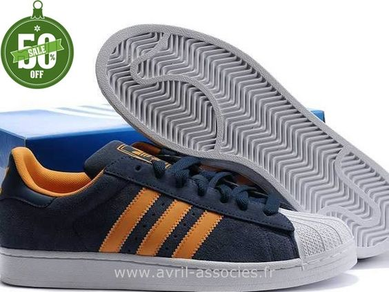 Official Hommes Adidas Chaussures Superstar II Marine Blanc Orange (Adidas Gazelle Og Pas Cher)