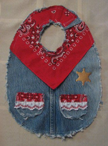 This is a cute girls cowboy western bib. It is made with recycled jeans and a…