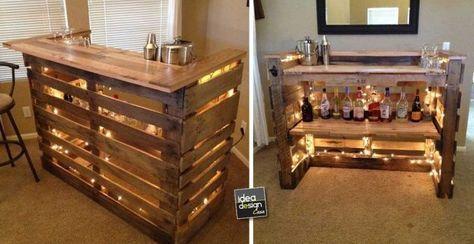 Dal momento che i mobili bar casalinghi hanno dimensioni ridotte, ne basteranno tre o quattro. Angolo Bar Con Pallet Ecco 20 Idee Da Cui Trarre Ispirazione Bar Con Pallet Idee Mini Bar Angolo Bar