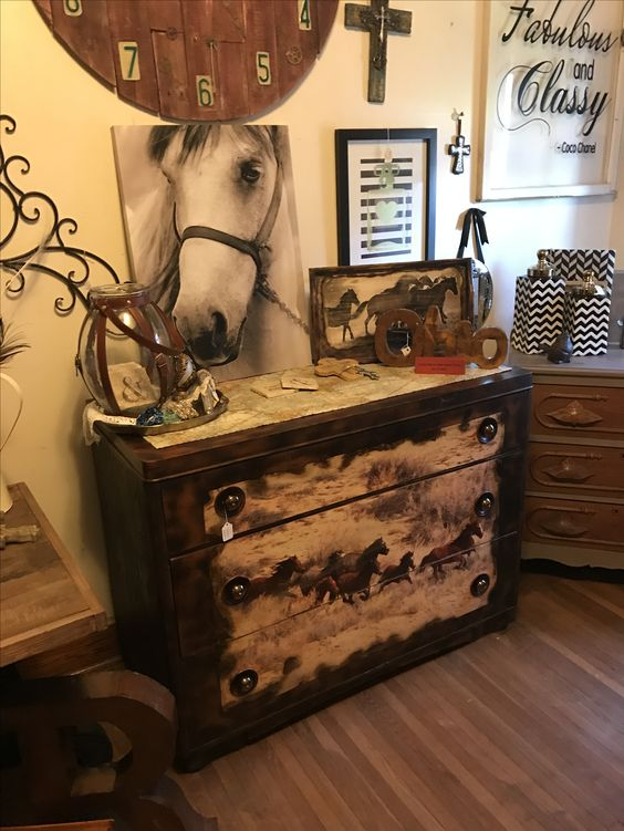 Dresser With A Horse Scene On The Front Has Been Sanded Burned