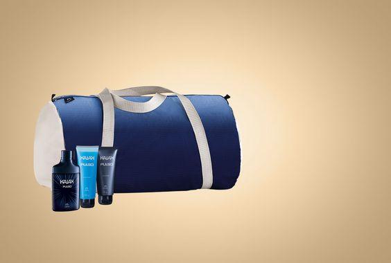 Presente Kaiak Pulso - R$134,00. 1 gel após barba 75 g; 1 gel para barbear 100 g; 1 desodorante colônia(ervas/vibrante/lima) 100 ml; 1 mala dobrável nas dimensões: C 49 x L 27 x A 27 cm, e 1 embalagem caixa M.