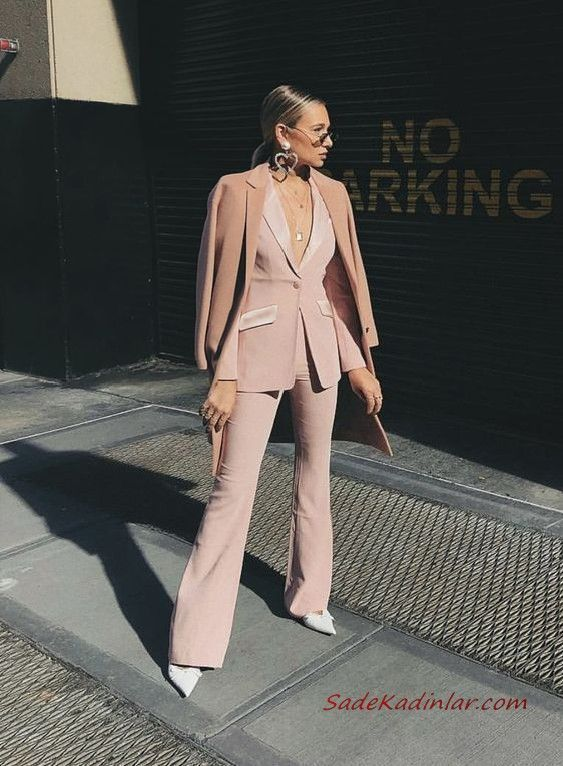 2019 Bayan Takim Elbise Kombinleri Pudra Ispanyol Paca Pantolon Uzun Ceket Ka Bayan Ceket Elbise Ispanyol Ka Kombinl Takim Elbise Elbise Klasik Moda