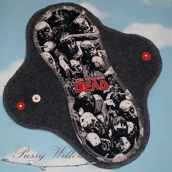 THIS IS A CUSTOM LISTING  'TWD Zombies' is a 100% Cotton print.  Every Pussy Willows pad is made with Zorb silver, which is a super fast absorbing material with an antimicrobial treatment. I use windpro fleece backs, which means everything will stay put.   Each pad also has a tag indicating...