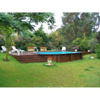 Piscine hors sol bois samoa xl diam l x l for Piscine semi enterree leroy merlin