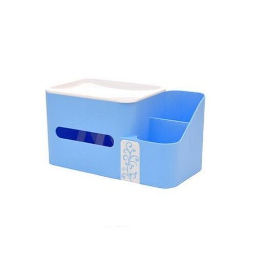 Chrisw 1pc Plastic Multifunction Desktop Tissue Holder Box Home Office Supplies Organizer For Pencilipadmobile Phonebusiness Cards Rulerstationerycosmeticsblue