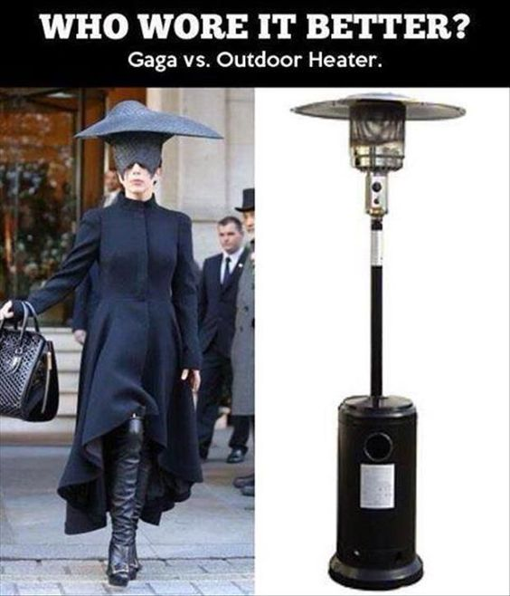 Funny Who Wore it Better?  Gaga or the lamp ?post