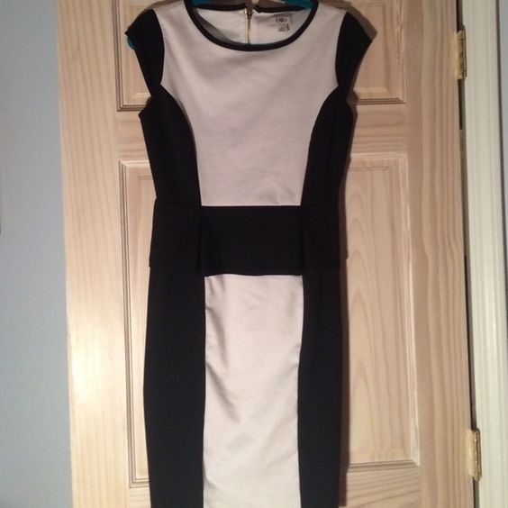 Black White Peplum Office Going Out Dress Super cute, unfortunately too big for me!! Re-polishing and the precious girl said she has only worn it once or twice :) This is not Kate spade!!! kate spade Dresses Midi
