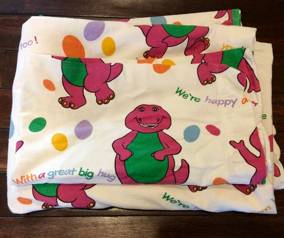 1992 Barney Full Flat Sheet And Pillow Case Barney The