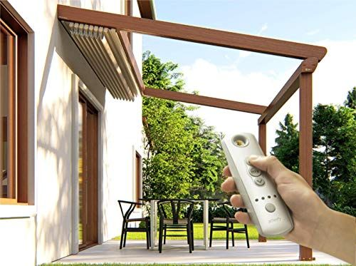 Schildr Easy To Assemble Aluminum Motorized Pergola Roof Kit Retractable Awnings System With Led Lights Pergola In 2020 Pergola With Roof Retractable Awning Pergola