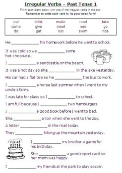 Printables Irregular Verbs Worksheet esl grammar unit using regular and irregular verbs in the past tense this package contains 14 worksheets 2 with only regu