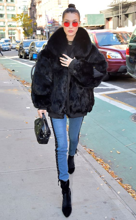 Bella Hadid from The Big Picture: Today's Hot Pics  The model rocks a fur coat during a day out in The Big Apple.: