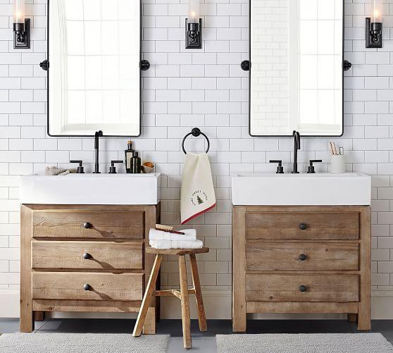Mason Single Sink Vanity Wax Pine Finish Modern Farmhouse Bathroom Bathroom Vanity Mold In Bathroom