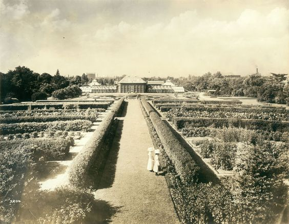 """August 2, 1862: Letter from James E. Love to his fiancee Molly. James says he is happy to hear that Molly has visited """"Old Shaws,"""" a reference to what is known today as the Missouri Botanical Garden in St. Louis. View looking across Shaw's Garden toward the Conservatory (Missouri Botanical Garden) in 1906."""