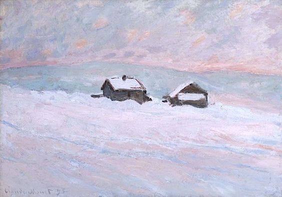 CLAUDE MONET 1840 - 1926 Les Maisons Dans La Neige, Norvège