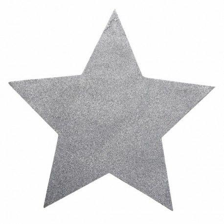 Sets de table étoile pailletée  Pour votre décoration de table de noël ou pour un mariage profiter de nombreux articles comme celui-ci en forme d'étoile.  Référence :  3928.4 - Argent Matière : Papier et paillettes Dimensions : 38 x 38 cm Lot de 2 pièces