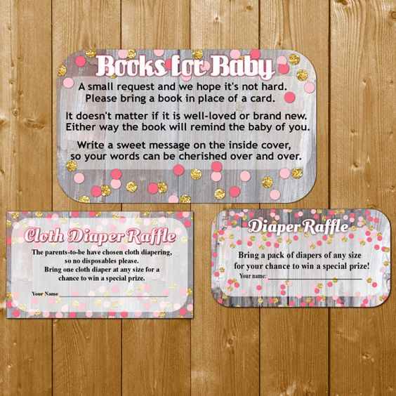Diaper Raffle, Bring a Book, Books for Baby and Cloth Diaper Raffle Cards Sweet Baby Girl Pink and Gold Confetti Printable, Instant Download
