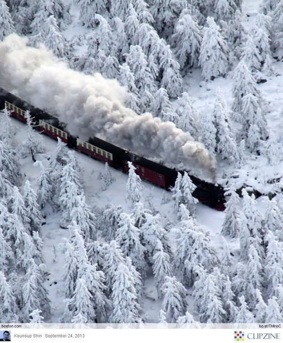 winter snow train ride..