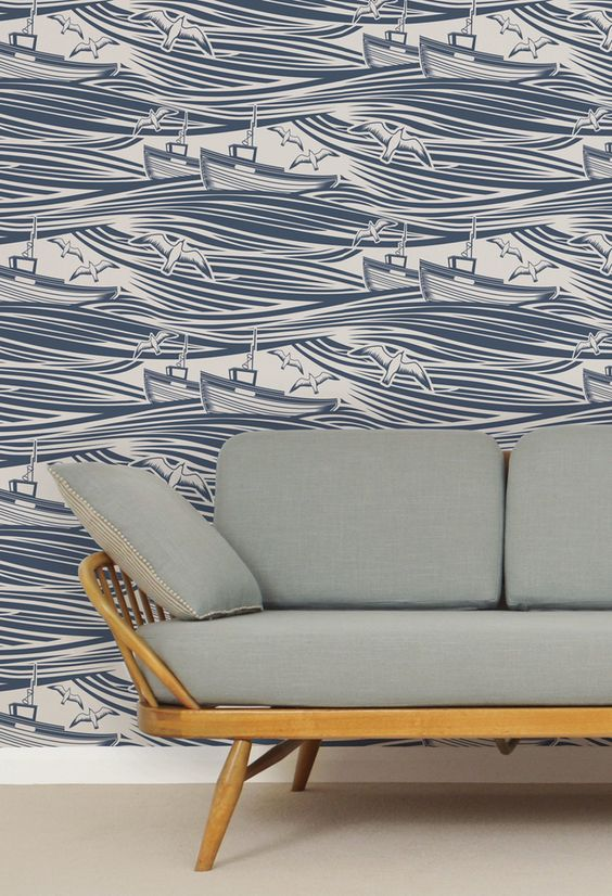 Whitby Wallpaper - Washed Denim - source for that wallpaper