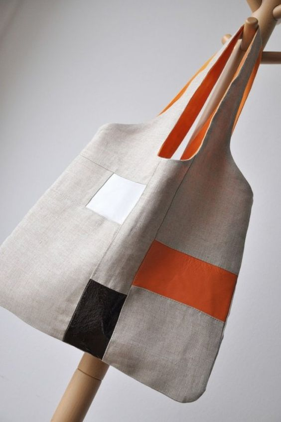 linen leather tote
