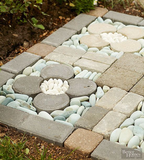 Clever design different shapes and river rocks on pinterest for Smooth river rocks for landscaping