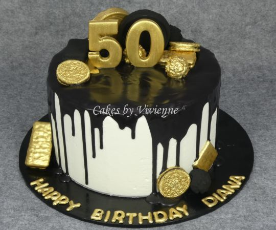 Black And Gold 50th Birthday Cake With Images 50th Birthday