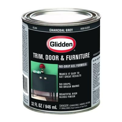 Front Door Paint Glidden 1 Qt Charcoal Grey Gloss Interior Exterior Oil Paint Gl 309 04 At The