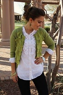 Love the ruffles: Green Sweater, Dream Closet, Cute Outfits, White Shirts, Teacher Outfit, Work Outfit, White Top, Green Cardigan