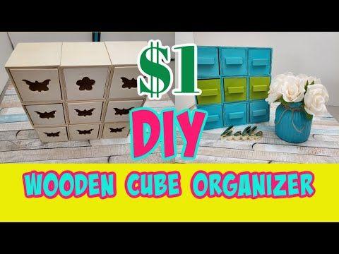 Diy Dollar Tree Wooden Cube Organizer Mini Storage Chest Of Drawers Youtube Dollar Tree Diy Wooden Box Crafts Dollar Tree Store