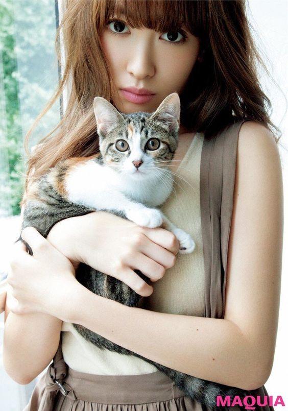 猫を抱く小嶋陽菜
