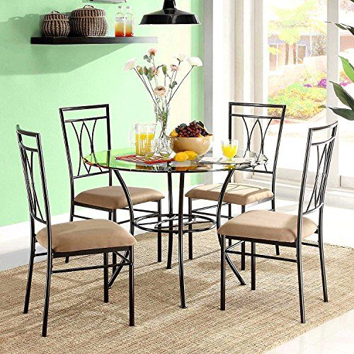 5pc Dining Set 4 Seats Chairs Round Table Espresso Beige