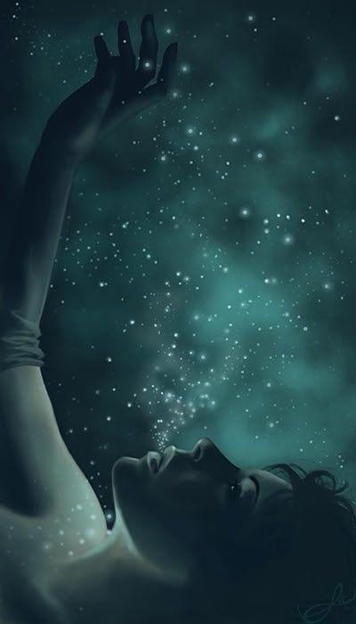 """ollebosse: """"Sie sagt nichts, sondern einfach starrt nach oben in den dunklen Himmel und Uhren, mit traurigen Augen, die langsamen Tanz der unendlichen Sterne."""" - Neil Gaiman, Stardust"""