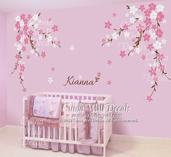 Nursery wall decal baby girl and name wall decals flowers cherry blossom wall sticker wedding office- cherry blossom Z127 by cuma. $89.00, via Etsy.