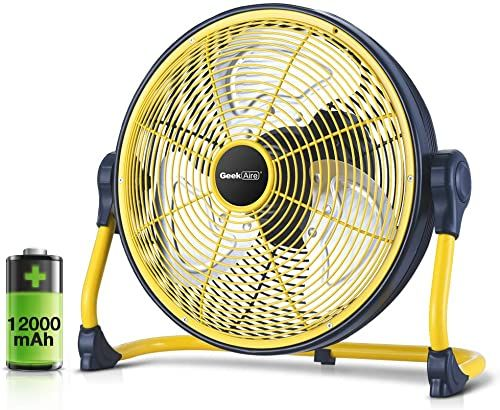 Best Seller Geek Aire Fan Battery Operated Floor Fan Rechargeable Powered High Velocity Portable Fan Metal Blade Built In Durable Battery Run Whole Day Tim In 2020 Floor Fan Outdoor Fan Outdoor