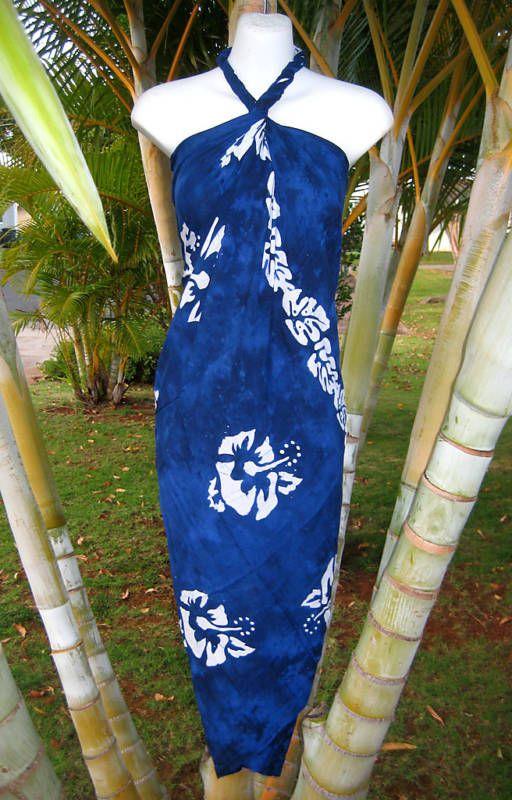 Sarong Dk Blue Hibiscus Pareo Wrap Hawaiian Luau Dress #None #CoverUp