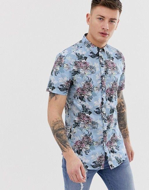 Onwijs River Island slim fit shirt in light blue floral print   Kleding HF-47