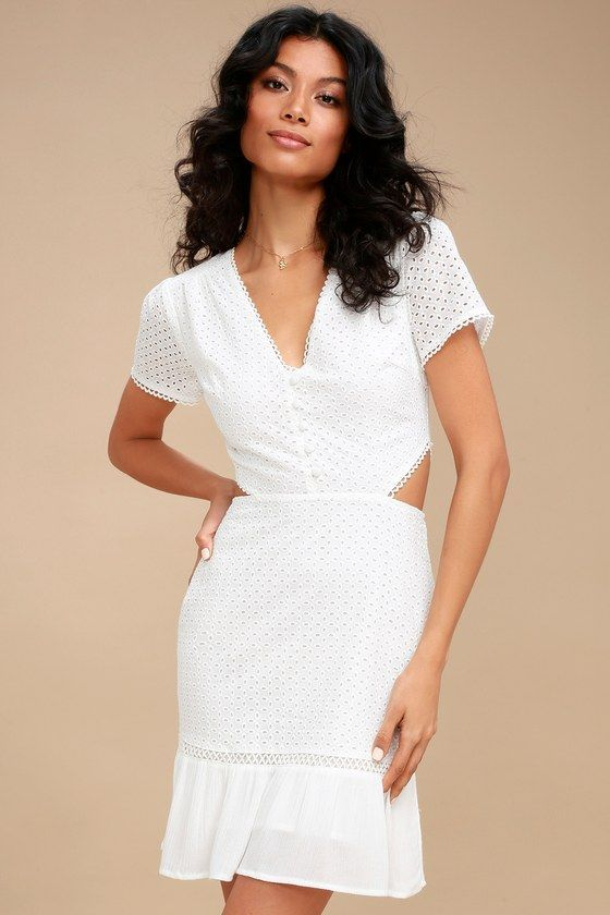Brigitte White Lace Cutout Dress White Lace Short Sleeve Top Side Cutout Dress Lace Cutout Dress