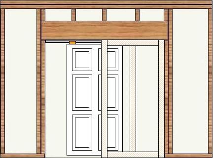 Rough in framing with pocket door framing and pocket door for 10 garage door rough opening