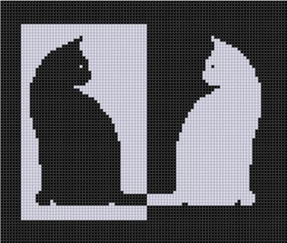 Cat Reverse Cross Stitch Pattern: