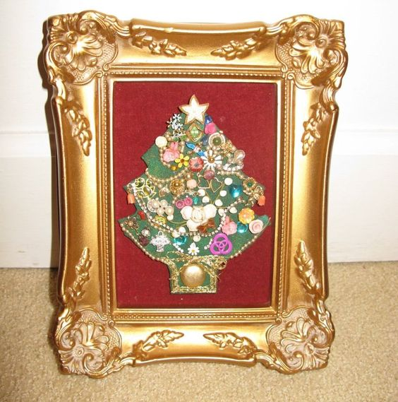 Jewelry Christmas Tree Picture in Gold Frame