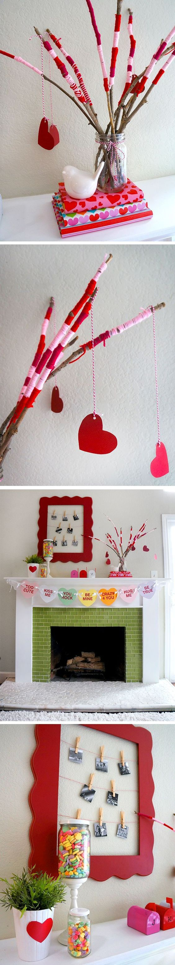 Valentine's Day Mantle ideas and fun nature Valentine craft that is almost free to make.: