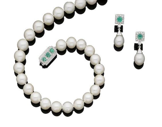 A cultured pearl, emerald and diamond necklace and earrings (2)